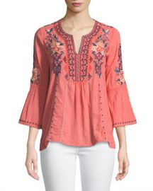 Johnny Was Marion Flare-Sleeve Embroidered Blouse at Neiman Marcus