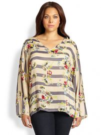 Johnny Was Sizes 14-24 - Floral Striped Blouse at Saks Fifth Avenue
