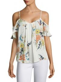 Joie - Adorlee Floral-Printed Silk Cold Shoulder Blouse at Saks Off 5th