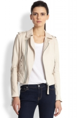 Joie - Ailey Leather Jacket in cream at Saks Fifth Avenue