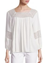 Joie - Bellange Lace Inset Blouse at Saks Off 5th