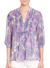 Joie - Datev Silk Floral-Print Blouse in Shadow at Saks Fifth Avenue