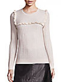 Joie - Flor Wool   Silk Mini Ruffle Cable-Knit Sweater at Saks Fifth Avenue