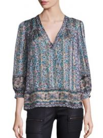 Joie - Frazier Floral Printed Silk Jacquard Top at Saks Fifth Avenue