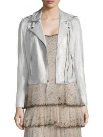 Joie - Leolani Metallic Leather Biker Jacket at Saks Fifth Avenue