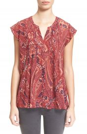 Joie   Matin  Flutter Sleeve  Paisley  Print Silk Blouse at Nordstrom