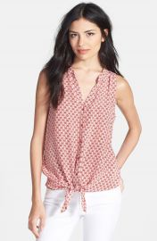 Joie   x27 Percel  x27  Tie Front Sleeveless Silk Blouse at Nordstrom