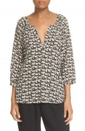 Joie  Coralee  Horse Print Silk Peasant Blouse at Nordstrom
