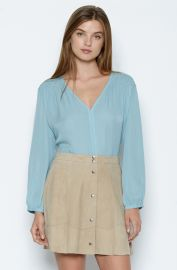 Joie  Leyva  Smocked Silk Blouse Blue at Nordstrom