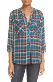 Joie  Nelia  Plaid Silk Top at Nordstrom