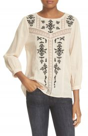 Joie  Oakes  Embroidered Cotton Blouse at Nordstrom