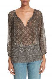 Joie  Tullis  Print Silk Peasant Top at Nordstrom