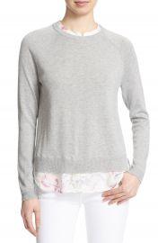 Joie  Zaan  Silk Detail Crewneck Sweater at Nordstrom