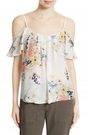 Joie Adorlee Print Silk Cold Shoulder Top at Nordstrom