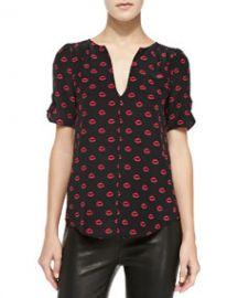 Joie Amone Lips-Print Silk Blouse at Neiman Marcus