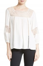 Joie Bellange Lace Trim Blouse at Nordstrom