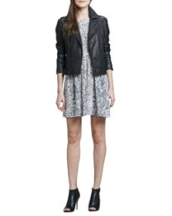 Joie Caldine Leather Motorcycle Jacket and Bernadine Leopard-Print Dress at Neiman Marcus