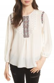 Joie Clema Embroidered Bib Silk Top at Nordstrom