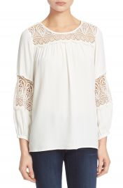 Joie Coastal Lace Inset Blouse at Nordstrom