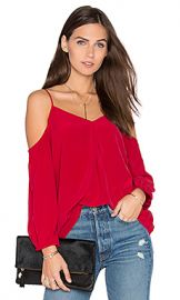 Joie Eclipse Cold Shoulder Blouse in Ruby from Revolve com at Revolve