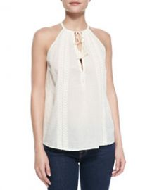 Joie Eniko Voile Embroidered Tank Top at Neiman Marcus