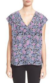 Joie Faela Floral Print Silk Top in Shadow Lily at Nordstrom