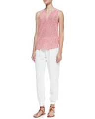 Joie Fifi Dotted Sleeveless Silk Blouse and Mariner Cropped Pull-On Pants at Neiman Marcus