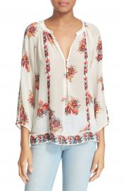 Joie Gloria Floral Print Silk Peasant Top at Nordstrom