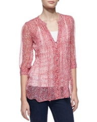 Joie Laurel Silk Half-Sleeve Blouse Candy Red at Neiman Marcus