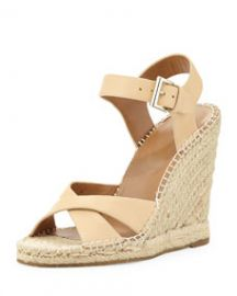 Joie Lena Leather Espadrille Sandal Nude at Neiman Marcus