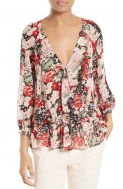 Joie Lourve C Silk Faux Wrap Blouse at Nordstrom