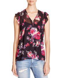 Joie Macy Floral Print Silk Top at Bloomingdales