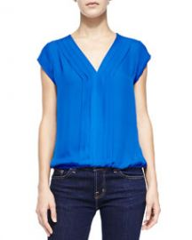 Joie Marcher Pintucked Cap-Sleeve Blouse at Neiman Marcus