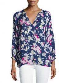 Joie Mckenna Floral-Print Silk Top at Neiman Marcus