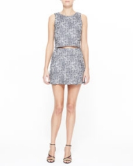 Joie Mintelle Sleeveless Crop Top and Tabby Printed Sateen Skirt at Neiman Marcus