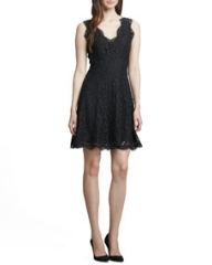 Joie Nikolina Fringe-Trim Lace Dress at Neiman Marcus