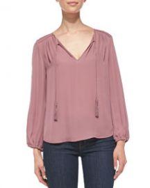 Joie Odelette Tassel-Tie Silk Blouse at Neiman Marcus