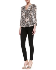 Joie Pearline Silk Leopard-Print Blouse and Evani Ponte Pull-On Leggings at Neiman Marcus