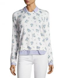 Joie Rika J Layered Floral-Print Sweater  White at Neiman Marcus
