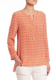 Joie Seahorse-Print Silk Tunic Top at Saks Fifth Avenue