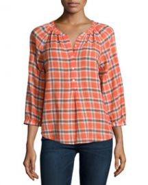 Joie Selma Plaid Blouse Orange Glaze at Neiman Marcus