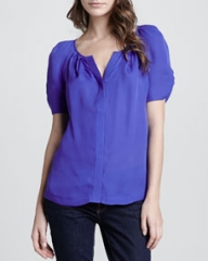 Joie Terabithia Puff-Sleeve Blouse at Neiman Marcus