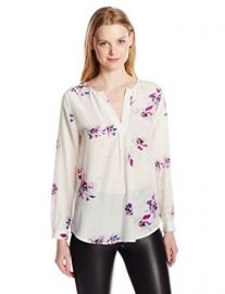 Joie Womenand39s Deon B Silk Tossed Bouquet Long Sleeve Blouse Porcelain Medium at Amazon