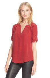 JoieAmone Split Neck SilkTop in Scarlet Rouge at Nordstrom