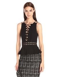 Jonathan Simkhai Lace-Up   Peplum Top at Amazon