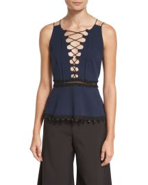 Jonathan Simkhai Lace-Up Crepe Peplum Top at Neiman Marcus