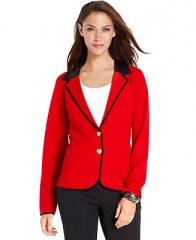 Jones New York Blazer Long-Sleeve Faux-Leather - Jackets and Blazers - Women - Macys at Macys