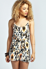 Joni Tribal Playsuit at Boohoo