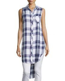 Jordyn Plaid Sleeveless Tunic  White Navy Orchid at Neiman Marcus
