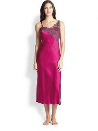 Josie Natori - Lolita Lace-Trimmed Silk Satin Long Gown at Saks Fifth Avenue